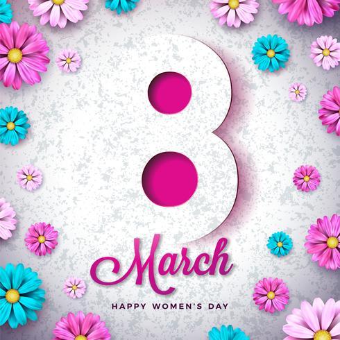 8. März Blumengrußkarte der glücklichen Frauen