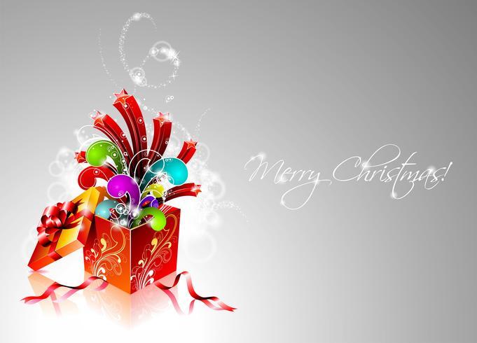 Illustrazione vettoriale di Natale con scatola regalo magico.
