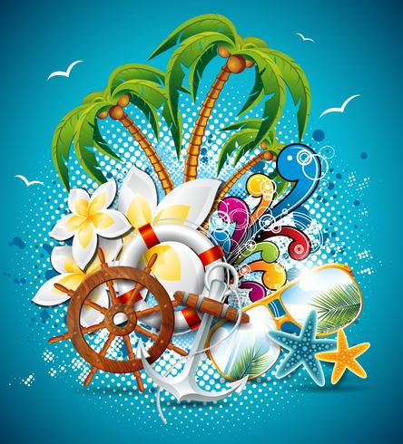 Vector Summer Holiday Flyer Design with palm trees and shipping elements.