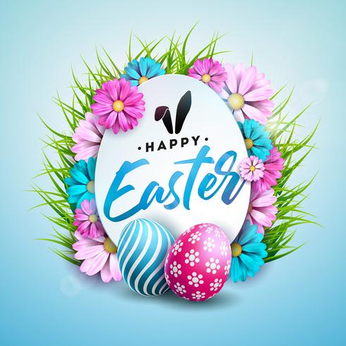 Illustration de joyeuses fêtes de Pâques avec un œuf peint