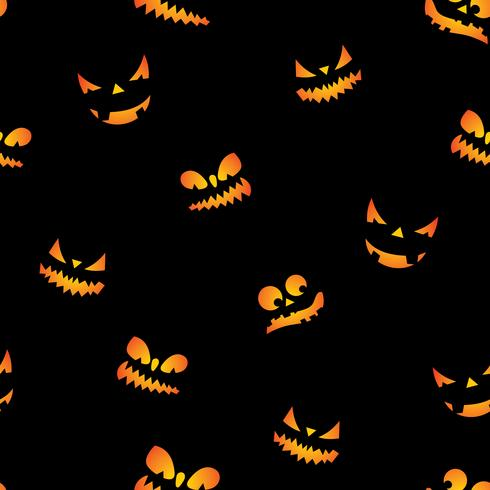 Halloween seamless pattern illustration with pumpkins scary faces on black background.
