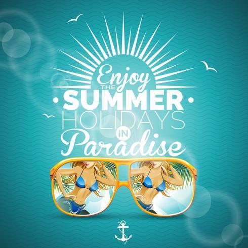 Vektor Sommar illustration med sexig tjej och solglasögon på blå bakgrund.