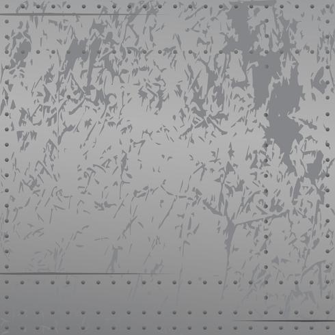 Metallo angosciato con rivetti, graffi, sfumature di sfumature fresche morbide, illustrazione vettoriale