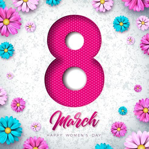 8 marzo Cartolina d'auguri floreale della giornata delle donne felici