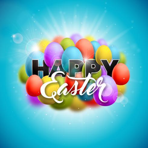 Glad påskferie illustration med målade ägg