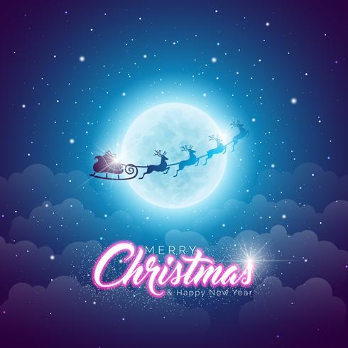 Merry Christmas Illustration with Flying Santa Sleigh