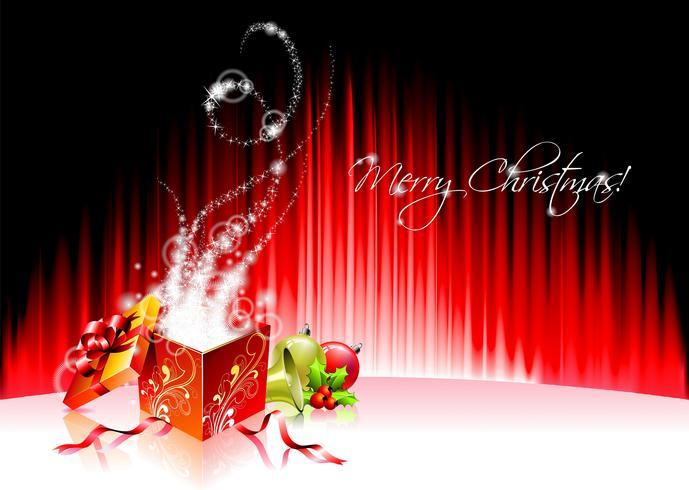 Vector Feiertagsillustration auf einem Weihnachtsmotiv mit magischer Geschenkbox