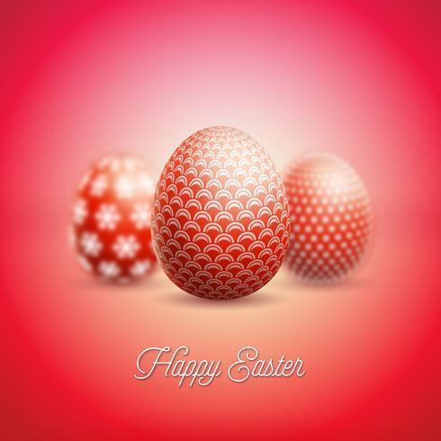 Illustration de joyeuses fêtes de Pâques avec un oeuf peint et une fleur