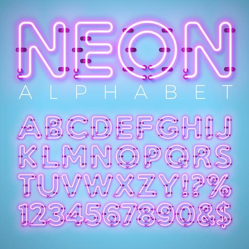 Alfabeto de néon brilhante sobre fundo azul