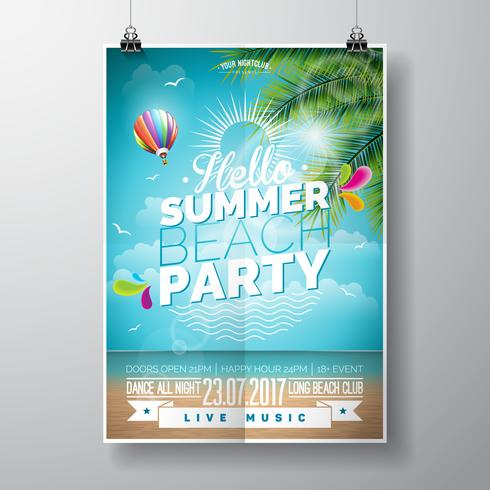 Vector Summer Beach Party Flyer Design avec des éléments typographiques