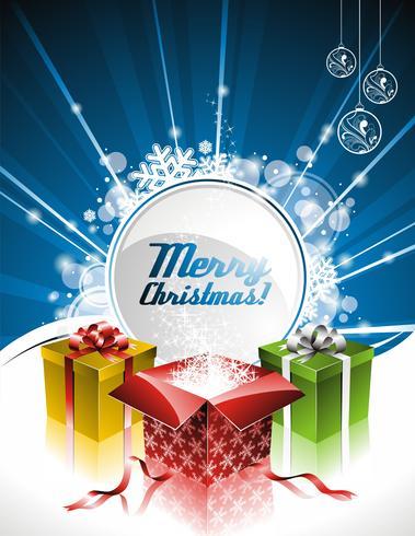 Vector Feiertagsillustration auf einem Weihnachtsmotiv mit Geschenkbox