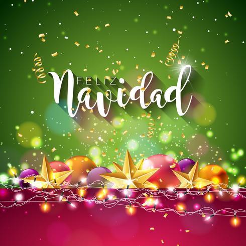 Christmas Illustration with Feliz Navidad Typography