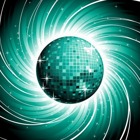 Vector discoball on shiny blue grunge background.