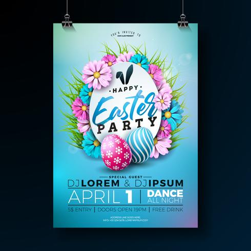Easter Party Flyer Illustration with painted eggs