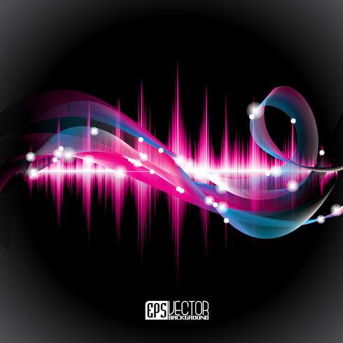 Glänzendes Hintergrunddesign des abstrakten Vektors mit Schallwellen.