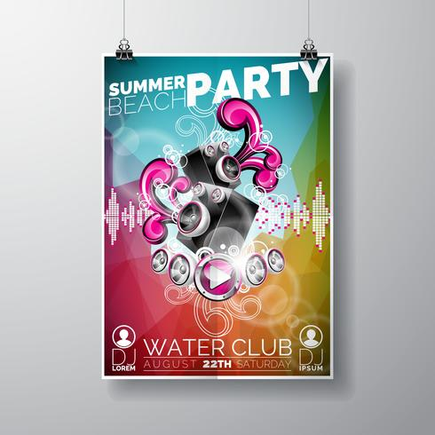 Vector Summer Beach Party Flyer Design with speakers on color background.