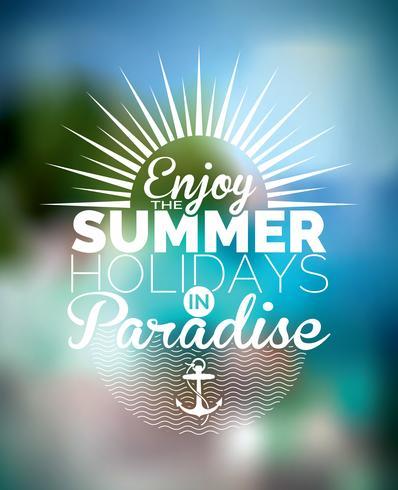 Vector el ejemplo en un tema de las vacaciones de verano en fondo borroso.