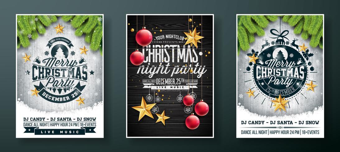 Diseño de Flyer de fiesta de Navidad feliz