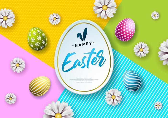 Illustration av lycklig påskferie med målat ägg och blomma