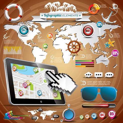 Vector zomer reizen infographic set met wereldkaart en vakantie elementen.
