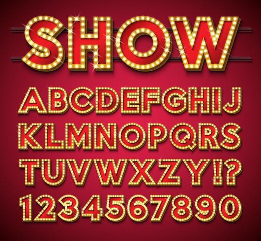 Glödlampa alfabetet på röd bakgrund