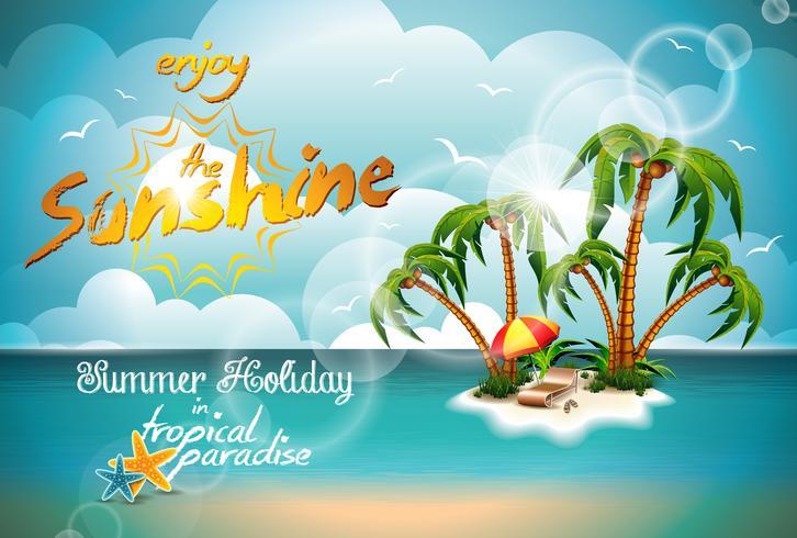 Vector Illustration auf einem Sommerferienthema auf Meerblickhintergrund.
