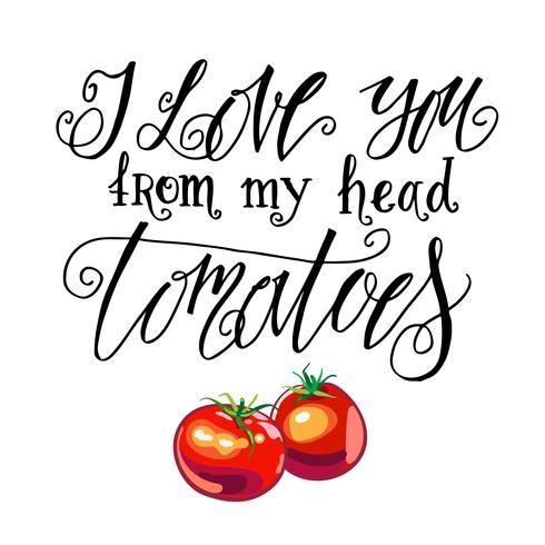 Ich liebe dich von meinen Kopftomaten. Vintage-Label