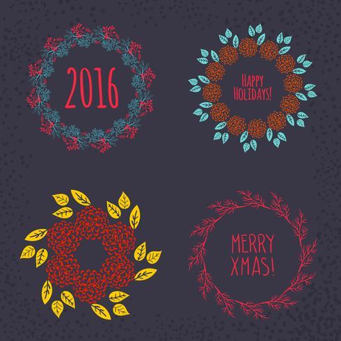 Corona de Navidad dibujada. vector