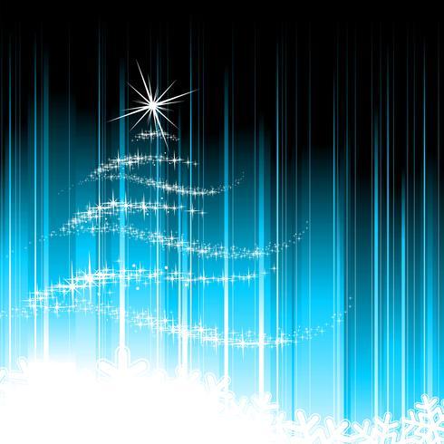 Ilustração do feriado com a árvore de Natal abstrata no fundo azul.