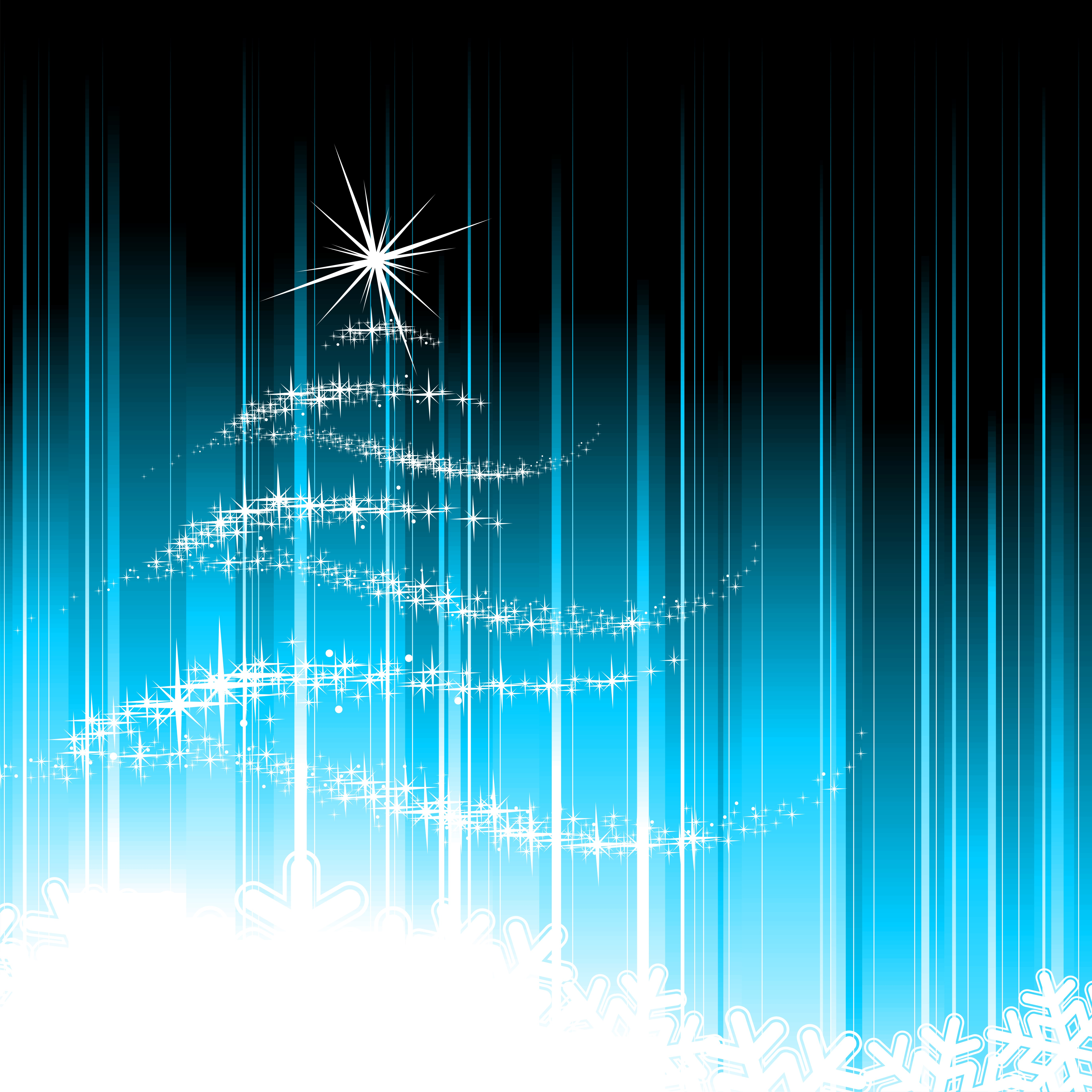 holiday illustration with abstract christmas tree on blue