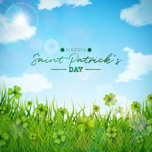 Illustrazione del giorno di San Patrizio con campo di trifogli verde su sfondo blu cielo.