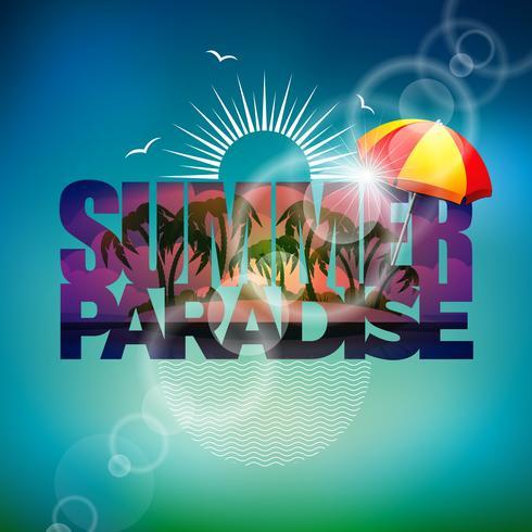 Vector el ejemplo en un tema de las vacaciones de verano con la sombrilla en fondo borroso.