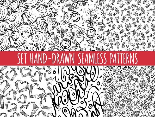 Set di quattro pattern disegnati a mano astratto senza soluzione di continuità,