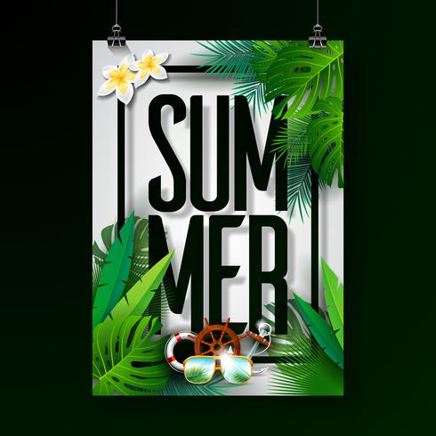 Illustrazione tipografica di vacanza estiva su priorità bassa bianca