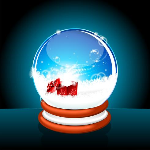 Christmas illustration with snow globe against. vector