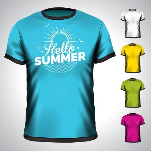 La maglietta di vettore ha messo con l'illustrazione di vacanza estiva.