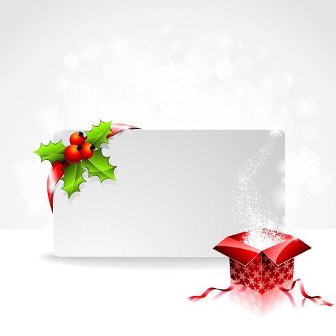 Illustrazione di festa su un tema di Natale con scatola regalo e banner chiaro per il vostro testo.