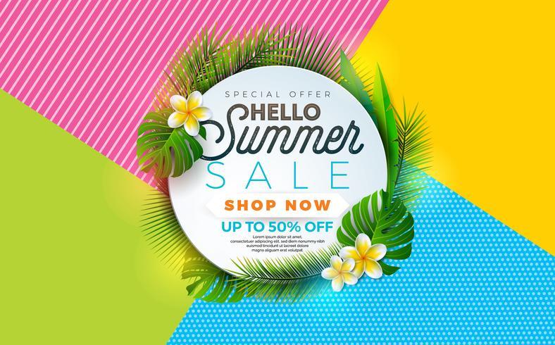 Ilustración de venta de verano con flores y plantas tropicales.