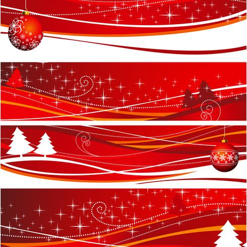 Four christmas banner illustration with red ball and tree.