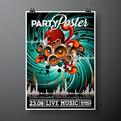 Party Flyer Illustration pour un thème musical avec haut-parleurs et boule disco.