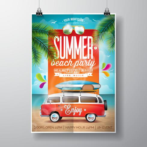 Vector Summer Beach Party Flyer Design med resevagn och surfbräda