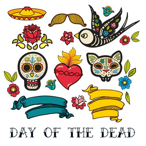 Icons of Day of the Dead sticker vector