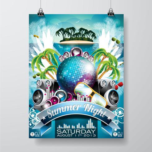 Progettazione dell'aletta di filatoio del partito della spiaggia di estate di vettore con la palla e le ali della discoteca su fondo verde.