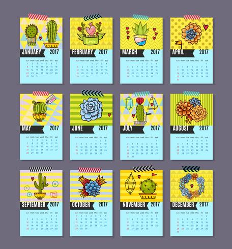 Calendar of cacti, succulents