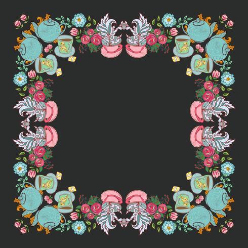 """tea flower wreath frame  """"time for tea""""  vector"""