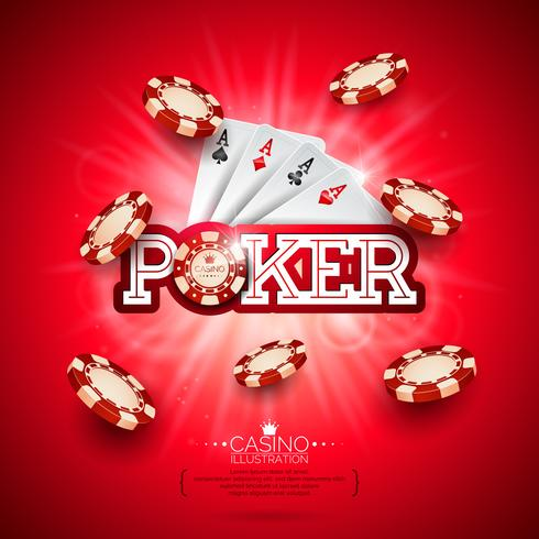 Casino Illustration with poker card and playing chips vector