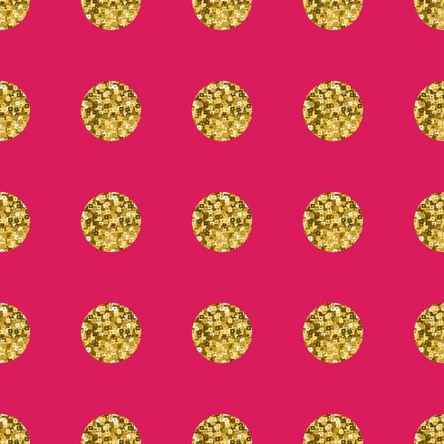 Pattern polka dot gold  on pink background.