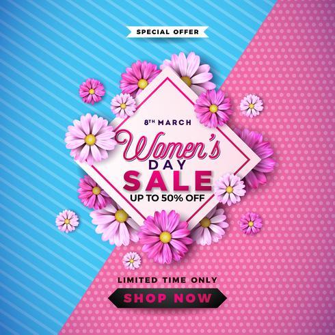 Diseño de la venta del día de las mujeres con la flor colorida hermosa en fondo rosado. vector
