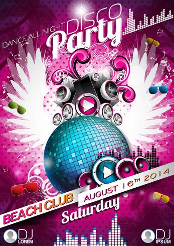 Vector Disco Party Flyer Design with disco ball and wings on pink background.
