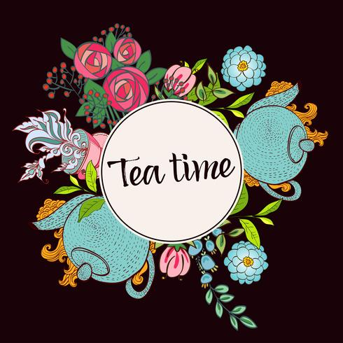 Time to drink tea. Trendy poster  vector